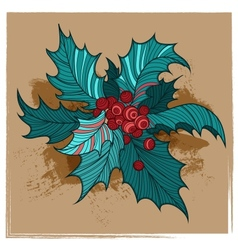 Color Christmas holly vector image