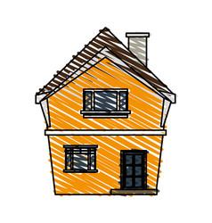 Color crayon stripe cartoon facade irregular vector
