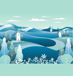 Countryside landscape with mill beautiful nature vector