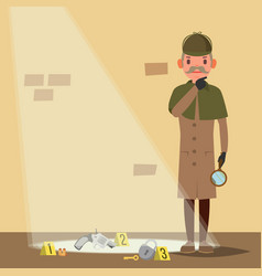 crime scene detective character man crime vector image