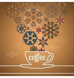 Cup of coffee and abstract flowers on golden vector