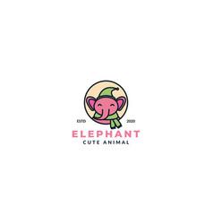 Cute cartoon elephant kids head face smile vector