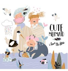 cute little mermaids with happy cartoon friends vector image