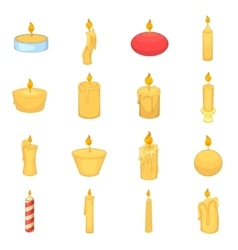 Different candle icons set cartoon style vector