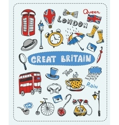Doodle set the most famous objects of in England vector