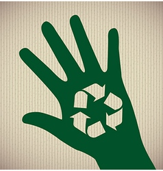 Eco hand over lineal background vector