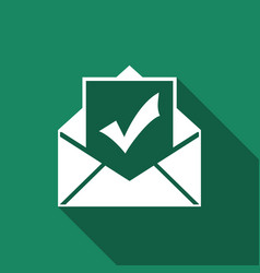 Envelope with document and check mark icon vector
