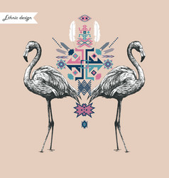 Ethnic style composition with flamingo hand drawn vector