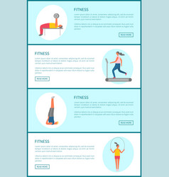 fitness web page template sport and exercise vector image