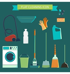 Flat color character set house cleaning and laundr vector
