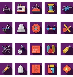 Flat color icons collection of sewing vector image