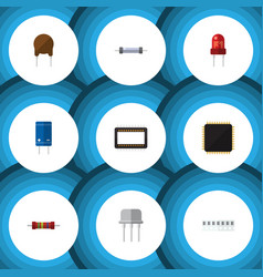 Flat icon technology set of triode memory vector