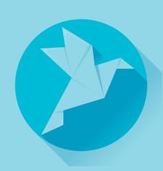 Flat origami paper bird vector