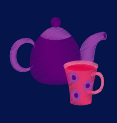 flat shading style icon tea kettle and cup vector image