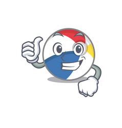 Funny beach ball making thumbs up gesture vector