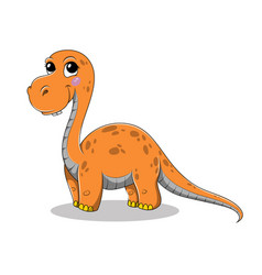 Funny cartoon baby brontosaurus dinosaur vector