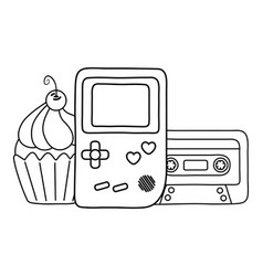 game boy and cassette with muffin black and white vector image