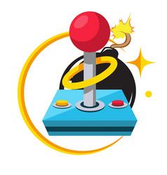 game retro joystick black bomb background i vector image