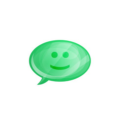 glossy speech bubble icon with smile isolated on vector image