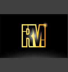 Gold black alphabet letter rm r m logo vector