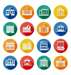 Government Buildings Flat Icons vector image