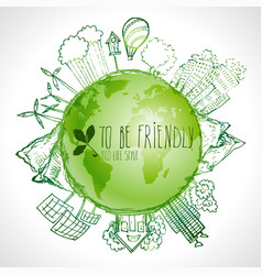Green planet with circle ecology doodles sketched vector