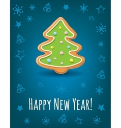 Greeting card with Happy New Year inscription and vector image