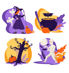 halloween holiday in autumn witch character mummy vector image