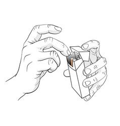 Hand holding cigarette box vector