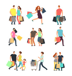 Happy shopping people man woman and shoppers vector