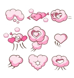 Heart shaped cloud collection vector