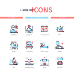 hotel services - line design style icons set vector image