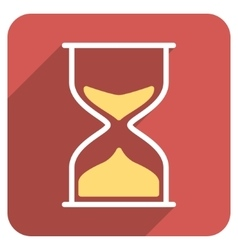 Hourglass Flat Rounded Square Icon with Long vector