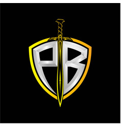 Initials p b is a shield decorated vector