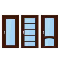 interior doors brown wooden set of designs with vector image