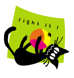 little hellcat fighting with a ball vector image