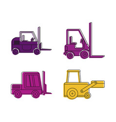 loader icon set color outline style vector image