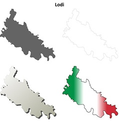 Lodi blank detailed outline map set vector
