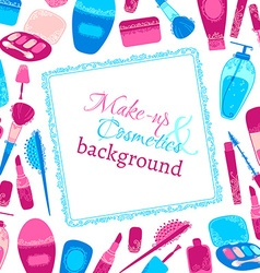 Make-up and cosmetics background vector
