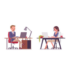 Male and female office secretary working at desk vector