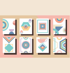 Modern colorful abstract and geometrical frames vector