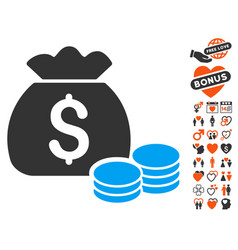 money bag icon with lovely bonus vector image