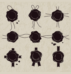 monochrome set of wax seals vector image