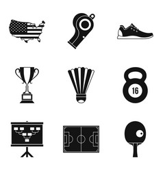 national championship icons set simple style vector image