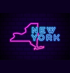 new york us state glowing neon lamp sign vector image