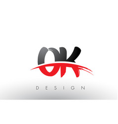 Ok o k brush logo letters with red and black vector