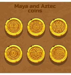 Old gold aztec and Maya coins game element vector