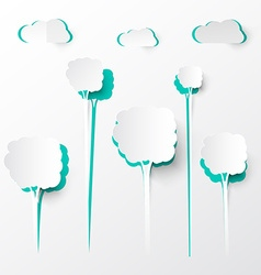 Paper Cut Trees and Clouds Background vector image