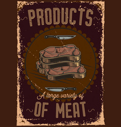 poster design with of sliced meat vector image