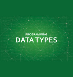 programming data types white text vector image